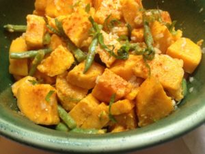Sweet potato and haricot vert/green bean salad