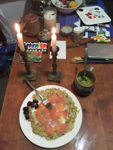 Cheddar,broccoli Rabe soup and a potato pancake, creme fraiche & smoked salmon - Shabbat dinner