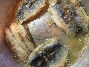 lightly frying sardine filets